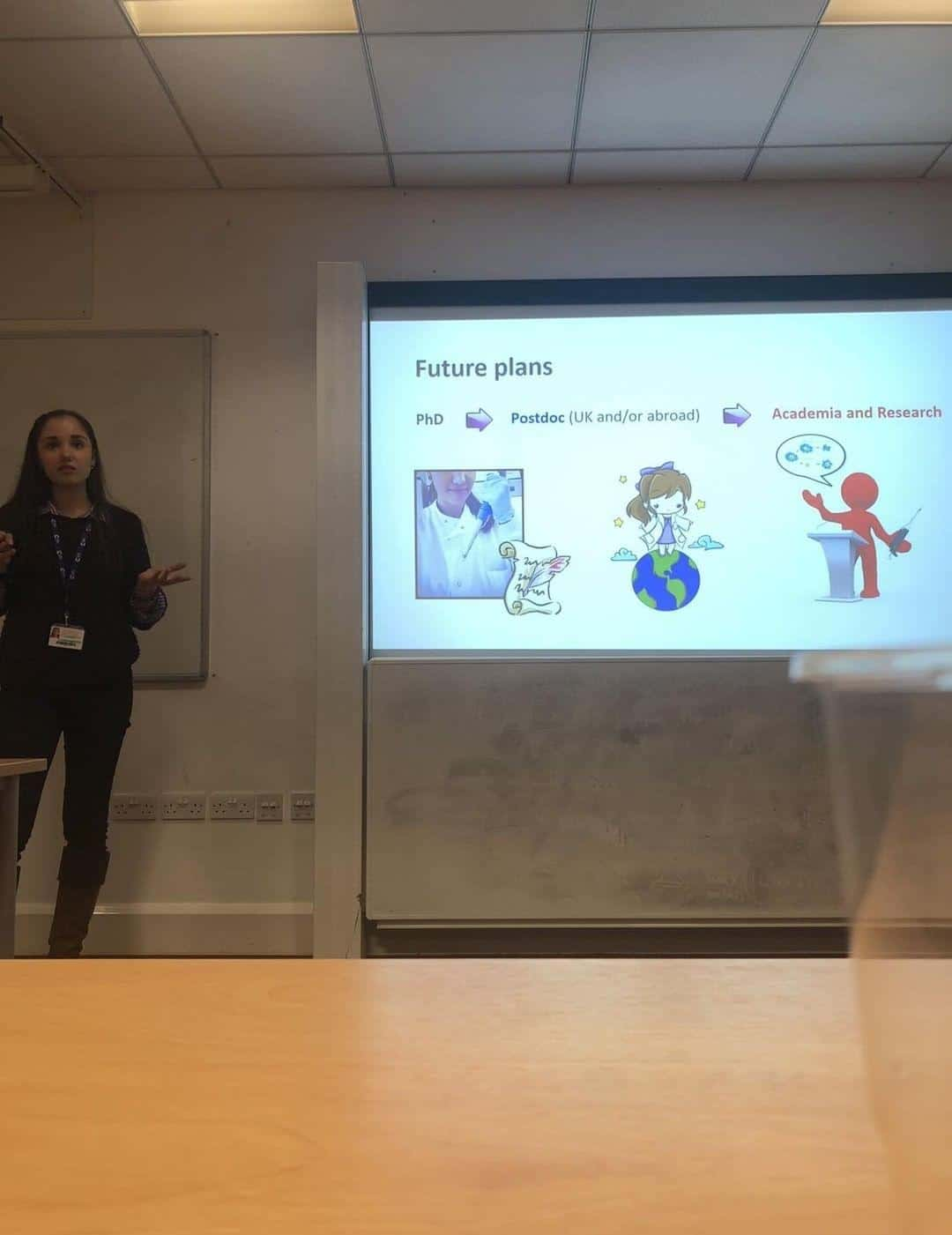 giving a careers talk to students - Maria Sharif
