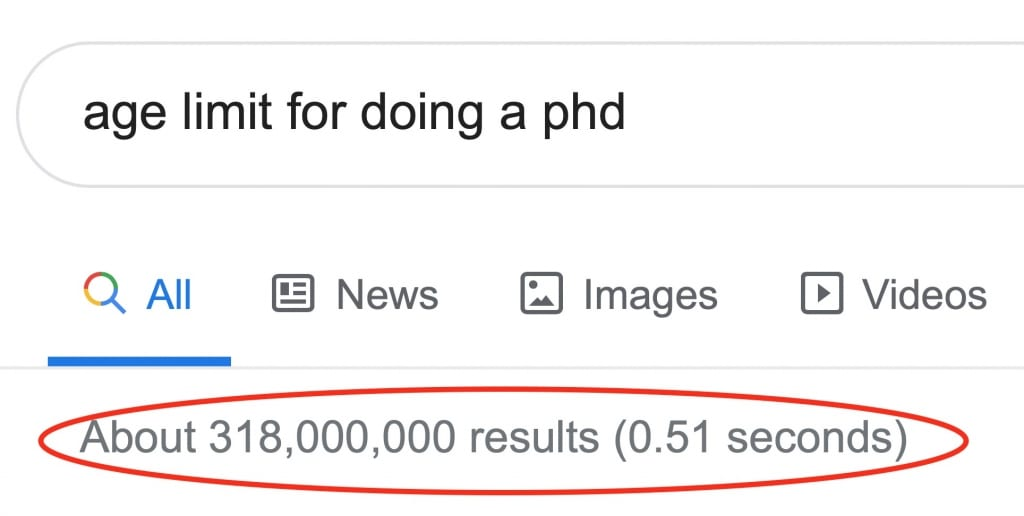 age limit for doing a phd